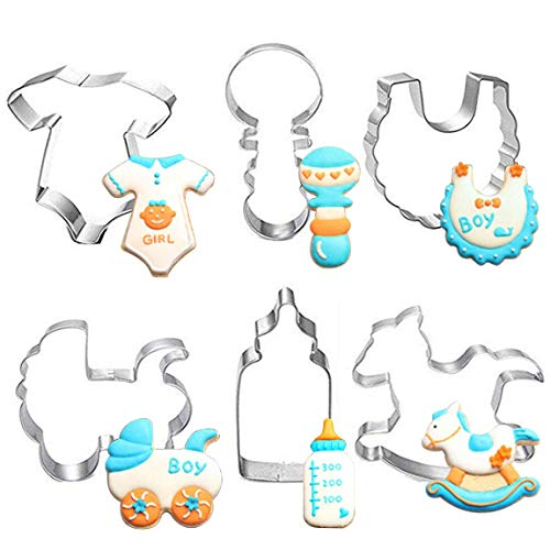 Imikoko Baby Shower Cookie Cutter Set Stainless Steel DIY Cake Biscuit Moulds Pastry Fruit Fondant Cutters and Molds for Baking Cake Decorating Supplies Kit -