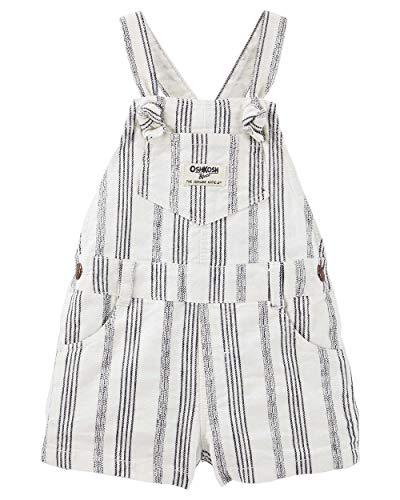 OshKosh B'Gosh Baby Girls' Striped Jacquard Shortalls - 24 Months White (Striped White Shortall)