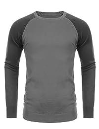 COOFANDY Men's Slim Fit Sweater Contrast Color Crew-Neck Cotton Sweater Pullover