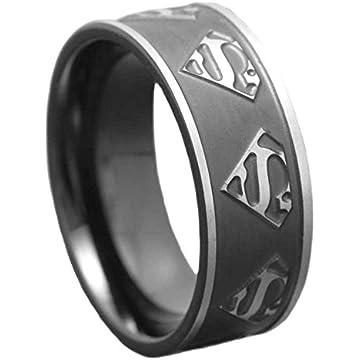 6mm womens titanium ring wedding band black plated satin polish ridged edge superman badge - Superman Wedding Ring