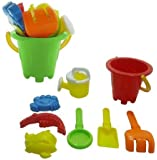 2 Sets Summer Fun 8 Piece Children's Kid's Mini Toy Beach/Sandbox Tool Play set, Comes with Watering Bucket, Hand Tools, Sand Molds (Colors May Vary)