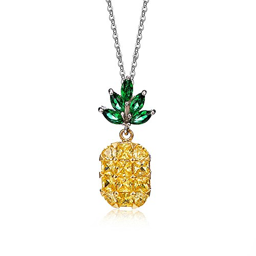 NASAMA Vibrant Color Crystal Pineapple Cubic Zirconia Pendant Green Leaf Necklace Womens Jewelry (Pineapple necklace)