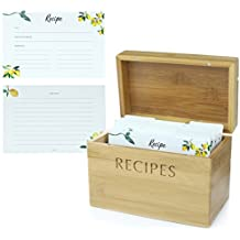 Recipe Box Set from Mint + Elm. 100 4x6 Cards, 10 dividers, bamboo box, and card holder. Perfect organizer for recipes.