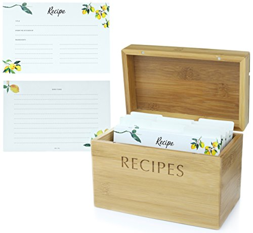 Recipe Box Set from Mint + Elm. 100 4x6 recipe cards, 10 dividers, and bamboo box. Cards made with thick card stock. Perfect recipe organizer.