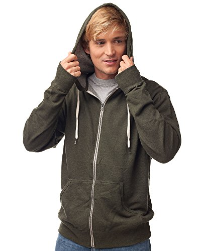 Global Blank Slim Fit French Terry Lightweight Zip Up Hoodie Men Women M Olive Green,Olive Heather,Medium ()