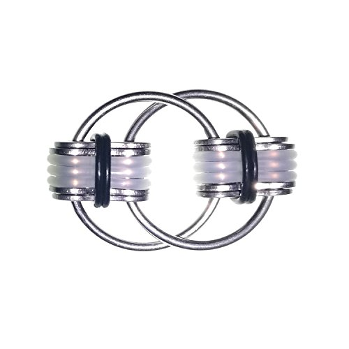 Flippy Chain transparent Silica Gel Fidget Toys Stress Reducer for Anxiety and Autism Black 2.28x1.5IN