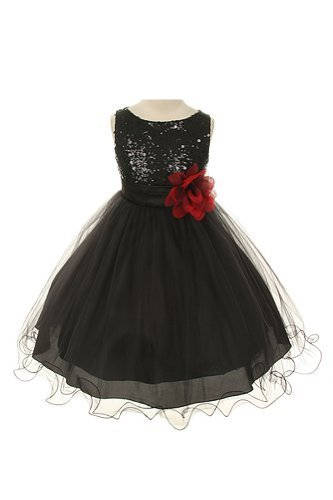 (Sequin Bodice Tulle Special Occasion Holiday Flower Girl Dress - Black 6)