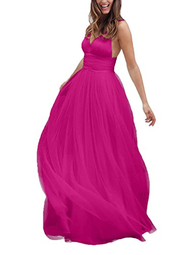 Long Neck V Straps Dress Backless Prom Dress Hot Women's Wedding Tulle Pink DYS Evening wxFXTYq0W