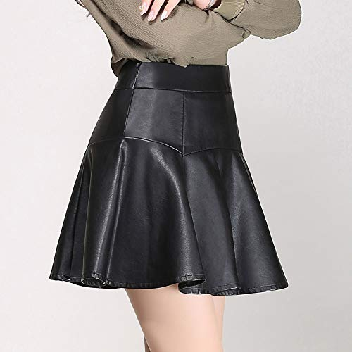 Plisse PU Grande Taille E Club Noir Jupe FS3016 Mini Girl Cuir BwZX4
