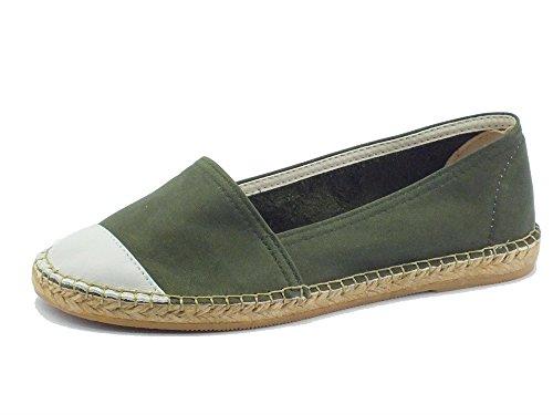 Kaki White Off Damen Seil Macarena Mokassin und Schuhe Grün Leder qRHq0vn1