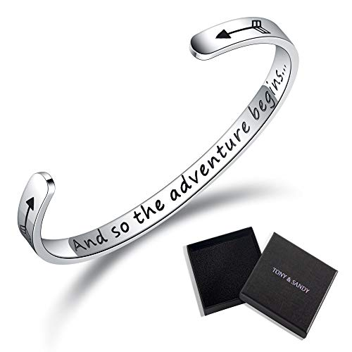 TONY & SANDY Inspirational Gifts Bracelet Cuff Bangle Women Mantra Quote Positive Saying Engraved Stainless Steel Silver Motivational Friendship Encouragement Jewelry (and So The Adventure -