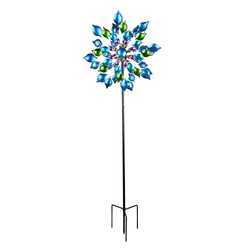 Peaktop 3400041 Windmill, 76-Inch, Blue/Floral (Best Windmill Propeller Design)