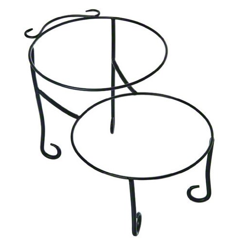 American Metalcraft TLSP1219 Wrought Iron Pizza Stand with Curled Feet, Two-Tier, 12'' H x 19'' W, Black