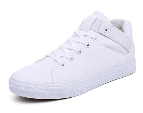 Sneakers Simple Canvas (Aisun Men's Casual Sportive Round Toe High Top Hidden Elevator Lace Up Canvas Sneakers Shoes (White, 9.5 D(M) US))