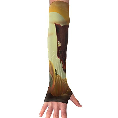 Men Women Black Cat Pumpkins Halloween Stylish Non Slip Arm Sleeves UV Protection Cooling Arm Warmer Long Sleeve Glove For Outdoor Sports Unisex