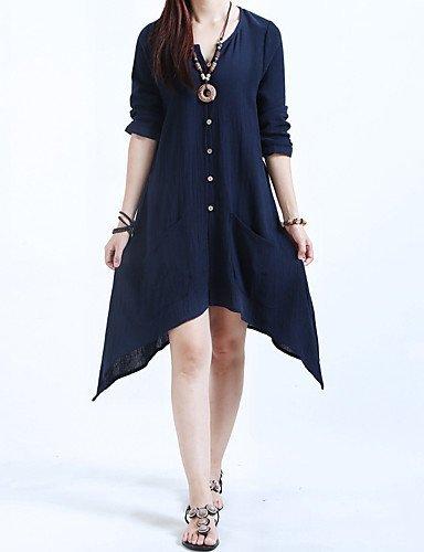 GSP-Damen Kleid - Übergrößen Übergröße / Leger / Niedlich Solide Asymmetrisch Baumwolle / Leinen V-Ausschnitt