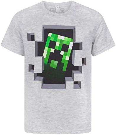 Minecraft Creeper Inside Boys Black Short Sleeve T-Shirt