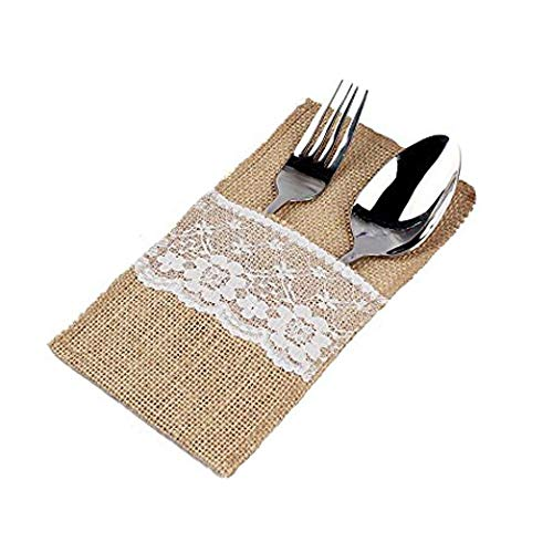 - sexyrobot Natural Burlap Lace Utensil Holders Silverware Napkin Cutlery Pouch Knifes Forks for Vintage Wedding Decor Bridal Shower Dinner Party Mother's Day Decorations 4