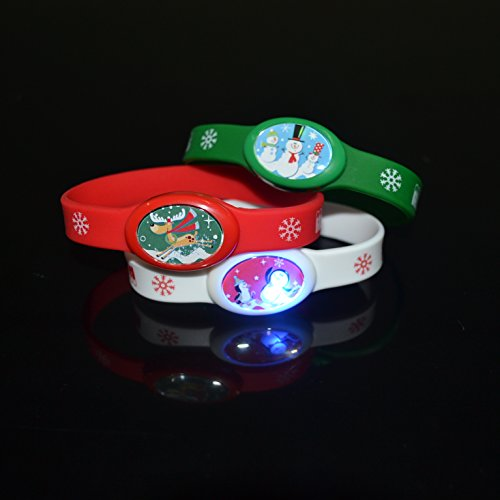 12 PC LED Light Up Flashing Holiday Party Silicone Bracelets Wristbands - Various Styles by Mammoth Sales (Christmas)