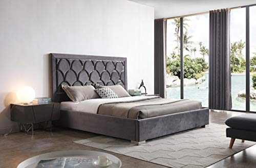Modern Style Velvet Upholstered Bed With Decorative Headboard With Polished Stainless Steel, Grey