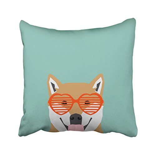 Birch Glass Waterfall (Tarolo Decorative Shiba Inu glasses dog cute shiba inu puppy gifts Pillow Case Size 16x16 inches(40x40cm) One Sided)