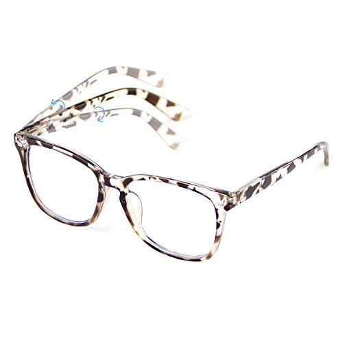 Cyxus Blue Light Blocking [Spring Hinge]Glasses, Clear Lens Leopard Print Frame
