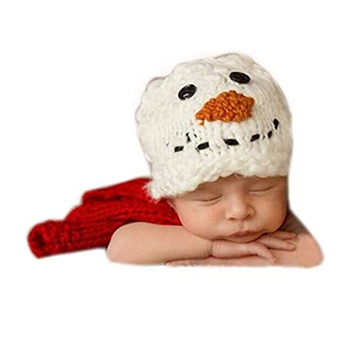 (Fashion Cute Unisex Newborn Boy Girl Baby Photography Props Outfits Snowman Hat Scarf Sets)