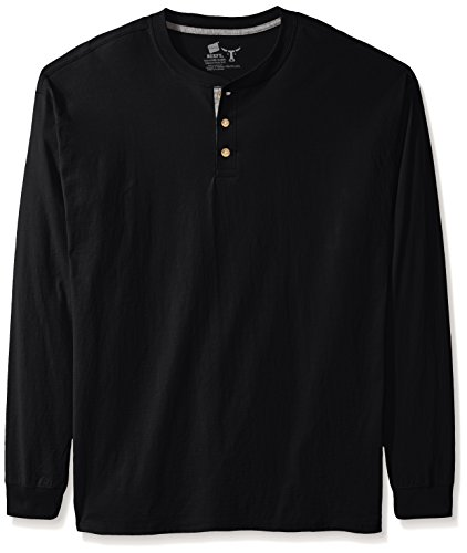 Hanes Beefy-T Men's Long-Sleeve Henley Ebony 2XL