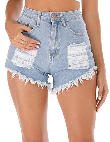 Haola Women's High Waist Shorts Casual Frayed Raw Hem Ripped Distressed Denim Jean Shorts Light Blue ()
