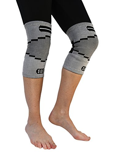 2 Susama Classic Knee Compression Sleeves and Patella Stabilizer Knee Wrap - Medium / Large - #1 ACL and Meniscus Support Brace - Ideal for Running, Basketball, Volleyball, Etc. For Men and Women