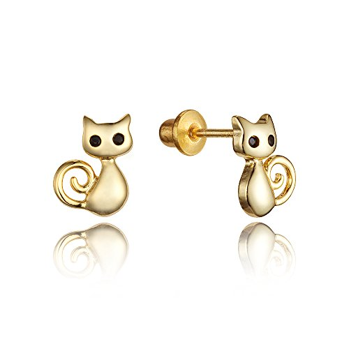 14k Gold Plated Brass Cat Cubic Zirconia Screwback Baby Girls Earrings with Sterling Silver Post