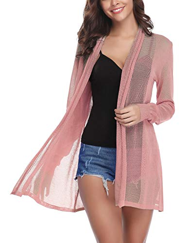 Abollria Womens Casual Long Sleeve Open Front Cardigan Sweater(Pink,XL)