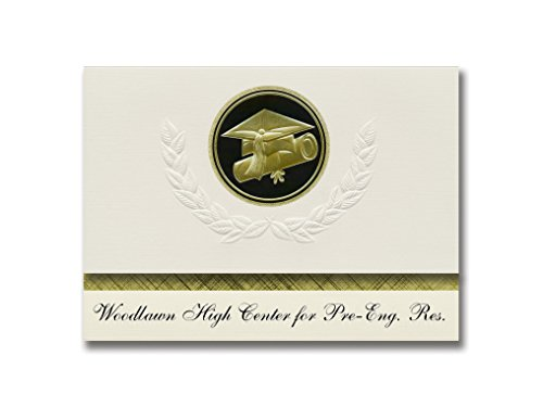 Eng Seal - Signature Announcements Woodlawn High Center for Pre-Eng. Res. (Baltimore, MD) Graduation Announcements, Presidential Elite Pack 25 Cap & Diploma Seal. Black & Gold.