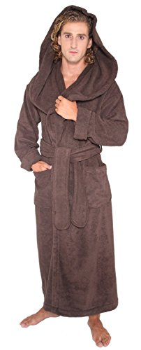 Arus Men's Monk Robe Style Full Length Long Hooded Turkish Terry Cloth Bathrobe, Large, Chestnut Brown -