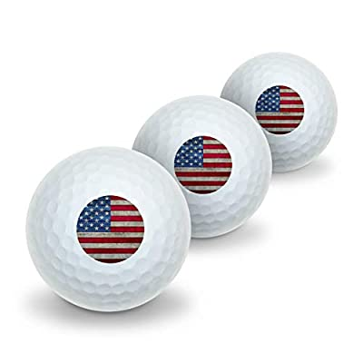 GRAPHICS & MORE Rustic American Flag Wood Grain Design Novelty Golf Balls 3 Pack
