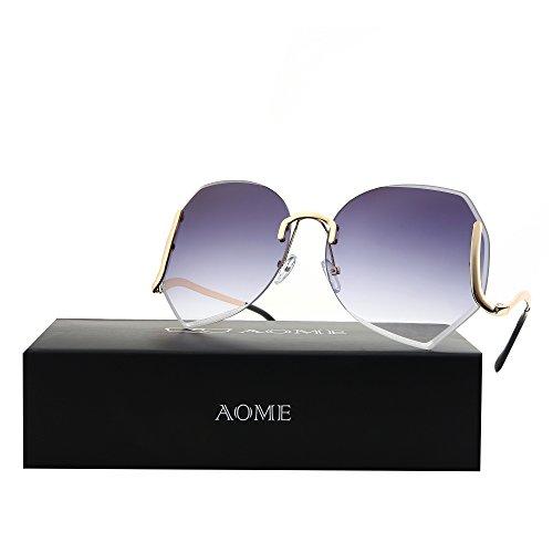 AOME Oversized Rimless Sunglasses,Vintage Gradient Cutting Clear Lens Eyeglasses (Gold&Grey, - Eyeglasses Sale Vintage