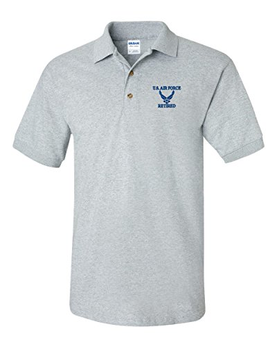 US Air Force Retired Custom Personalized Embroidery Embroidered Golf Polo Shirt - Air Force Embroidered Polo Shirt