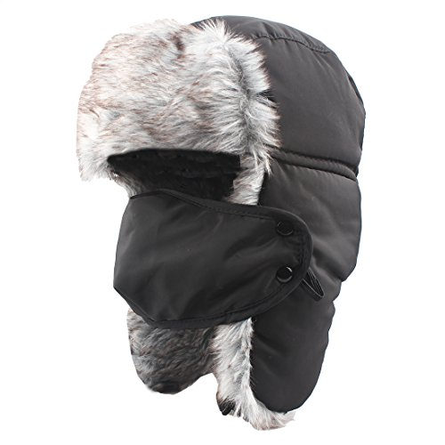 KRATARC Trapper Hat Hunting Winter Ski Windproof Hat with Ear Flaps and Warm Mask for Men (Fold Down Earflaps)