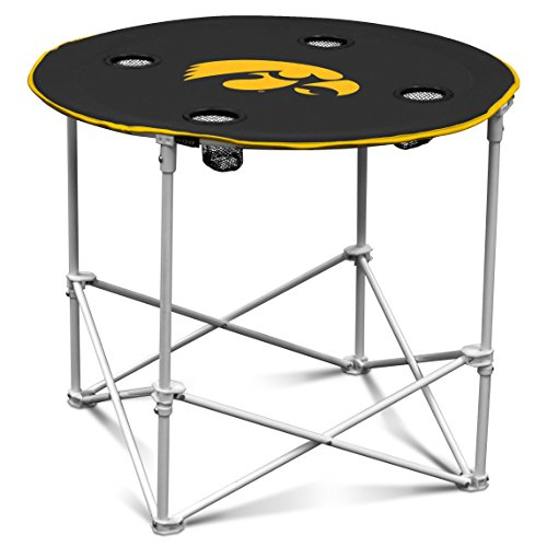 Iowa Hawkeyes Collapsible Round Table with 4 Cup Holders and Carry Bag Iowa Hawkeyes Tailgate