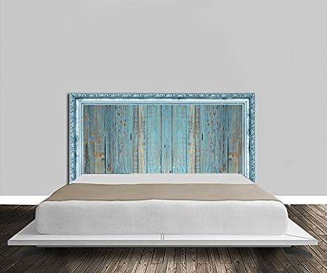 Testata letto, in legno, con scanalature dorate, colore: blu in ...