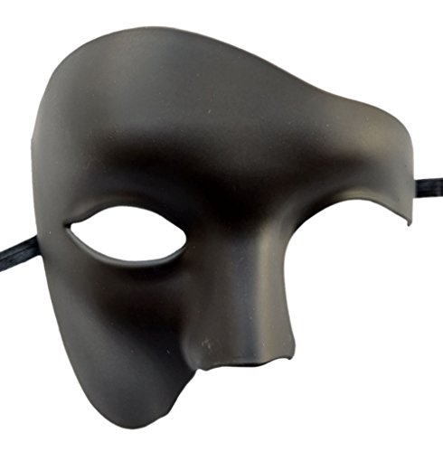 Coolwife Masquerade Mask Vintage Phantom of The Opera One Eyed Half Face Costume (Matt Black)]()