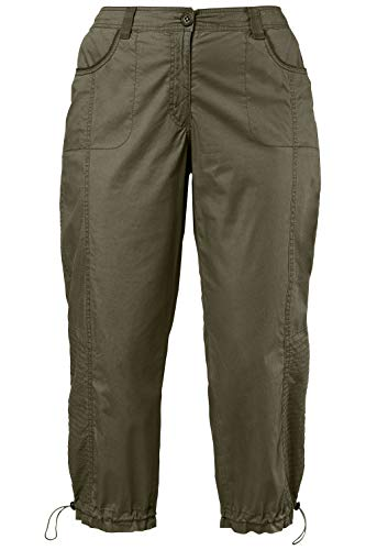 Ulla Popken Women's Plus Size 3/4 Length Cargo Pants Khaki/Olive 18 697712 44