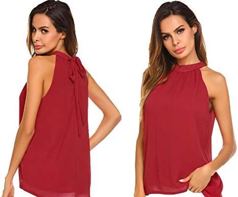 Modfine Camisa De Gasa Mujer Camiseta Sin Manga Blusa Color sólido Blusa Suelta T-Shirt Corto Negro Rojo Vino Azul: Amazon.es: Ropa y accesorios