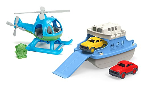 Maven Gifts: Green Toys Bundle - Ferry Boat with Mini Cars Bathtub Toy (Blue/White) with Helicopter Toy (Blue/Green) - 100% Recycled Material