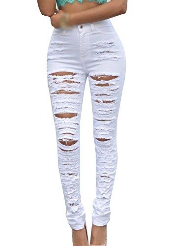 Stretch Donne Alta Scarni Jeans Matita Vita Bianco Strappati Slim Pantaloni Gladiolus Pantalone FdU0qFY