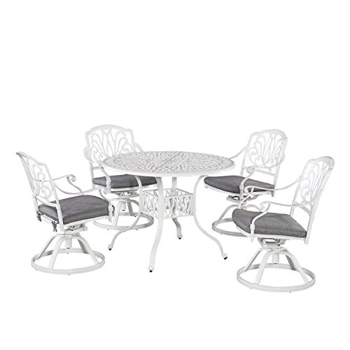 Floral Blossom White 5 Piece Outdoor Dining Set with Round Table and Four Swivel Chairs, 42
