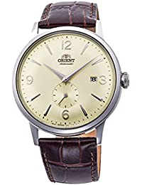 Men's 'Bambino Small Seconds' Japanese Automatic Stainless Steel and Leather Dress Watch, Color:Brown (Model: RA-AP0003S10A)