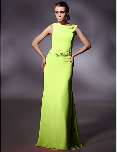 Longitud Crystal Noche Lime Vestidos con Columna Chiffon Prom Salpicadero Cervical La Guillotina Green Bola Oficiales HY Militares Detallando De Piso amp;OB Vaina Ribbon wzqaaSX