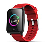 LHFJ Smart Watch Bluetooth 4.0 Fitness Watch IP67 Waterproof OLED Screen Wristwatch for iOS,Android System,Red