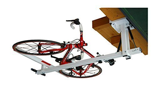 flat-bike-lift - The new overhead rack to store the bikes flat to the garage ceiling (Bike Hoist System Pulley)